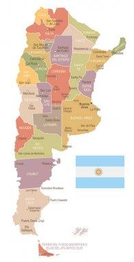 Argentina - vintage map and flag - illustration