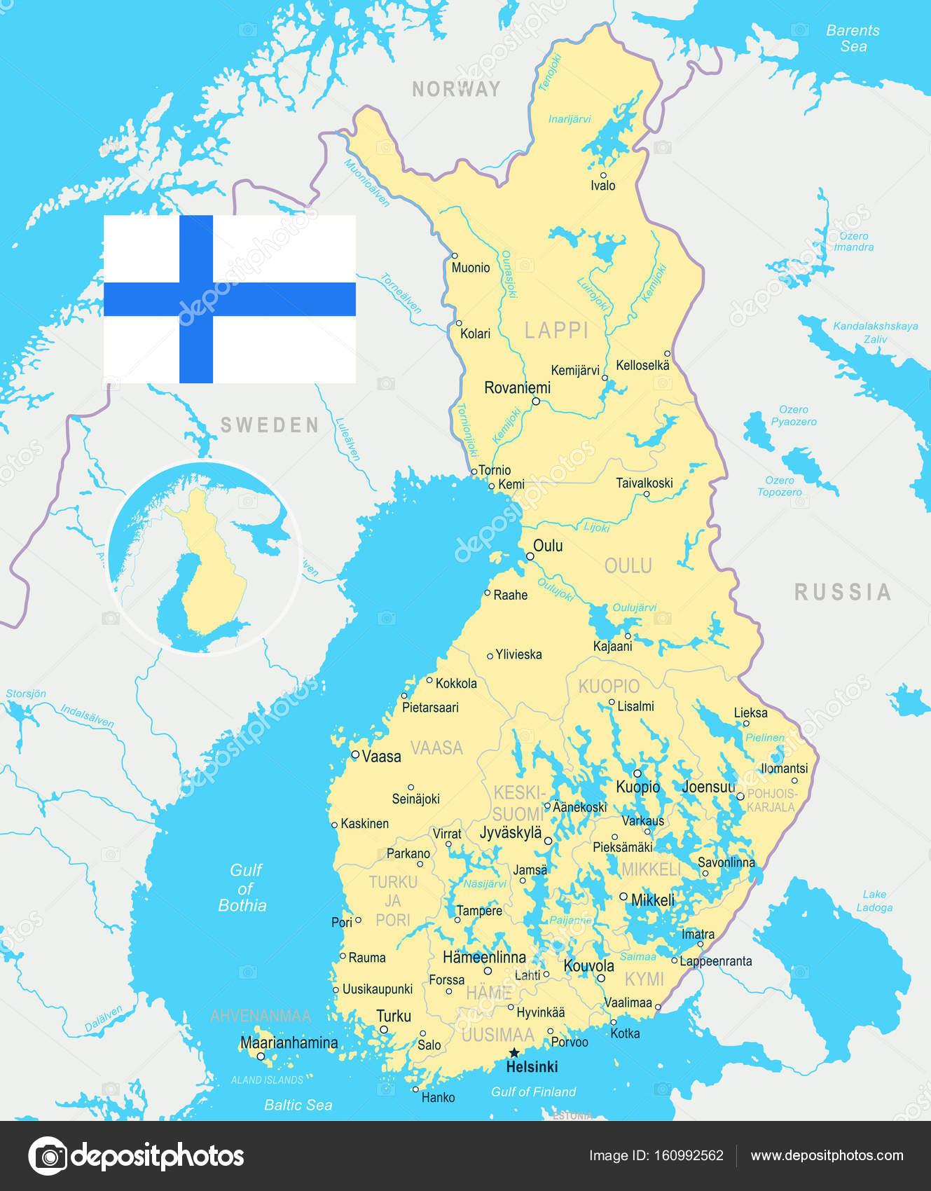 Finland map and flag illustration Stock Vector dikobrazik