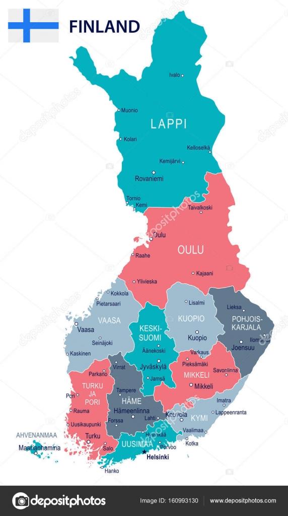 finlandia mapa Finlandia   mapa y bandera de la ilustración — Archivo Imágenes  finlandia mapa