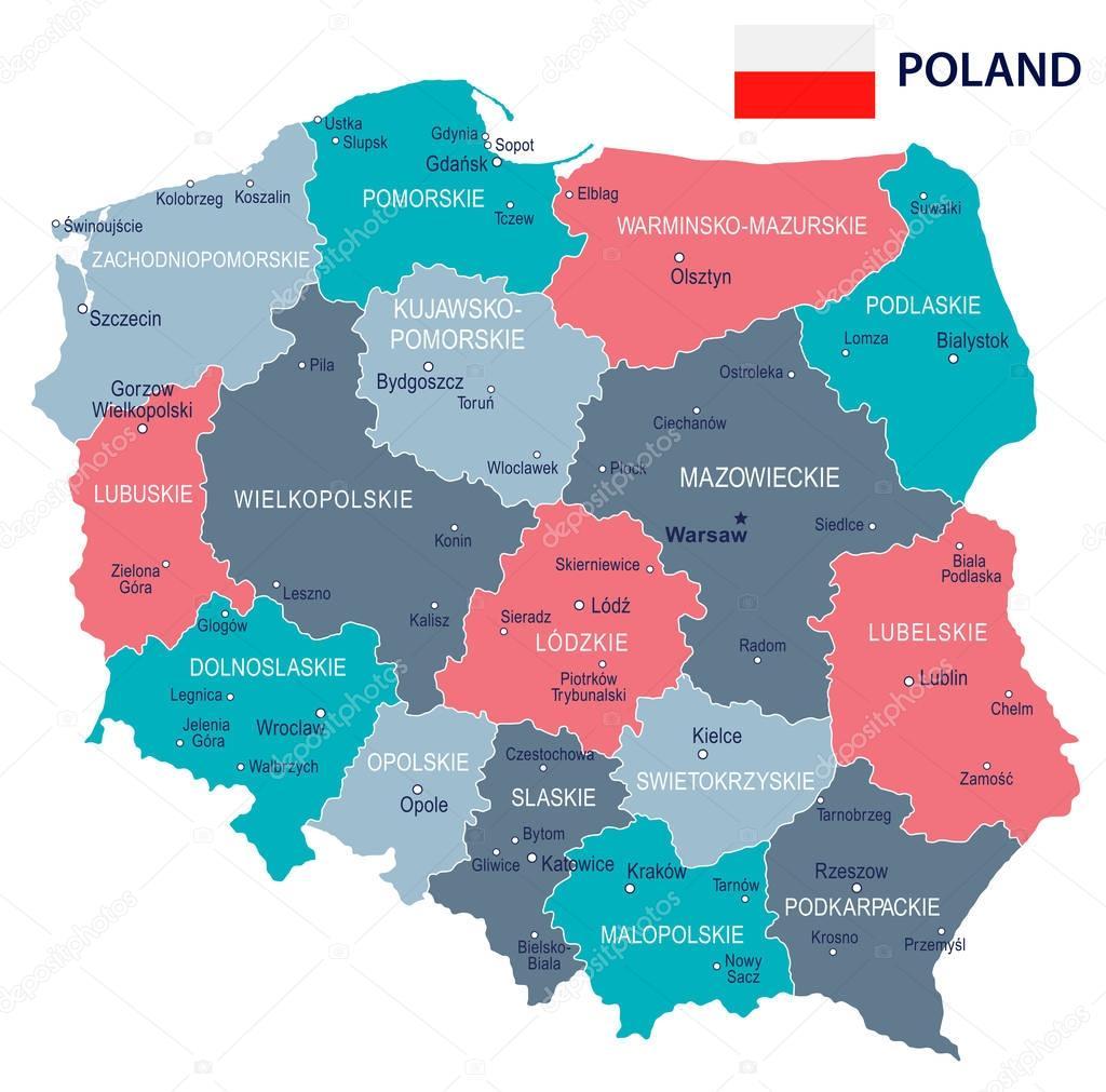Poland Map And Flag Illustration Stock Vector C Dikobrazik