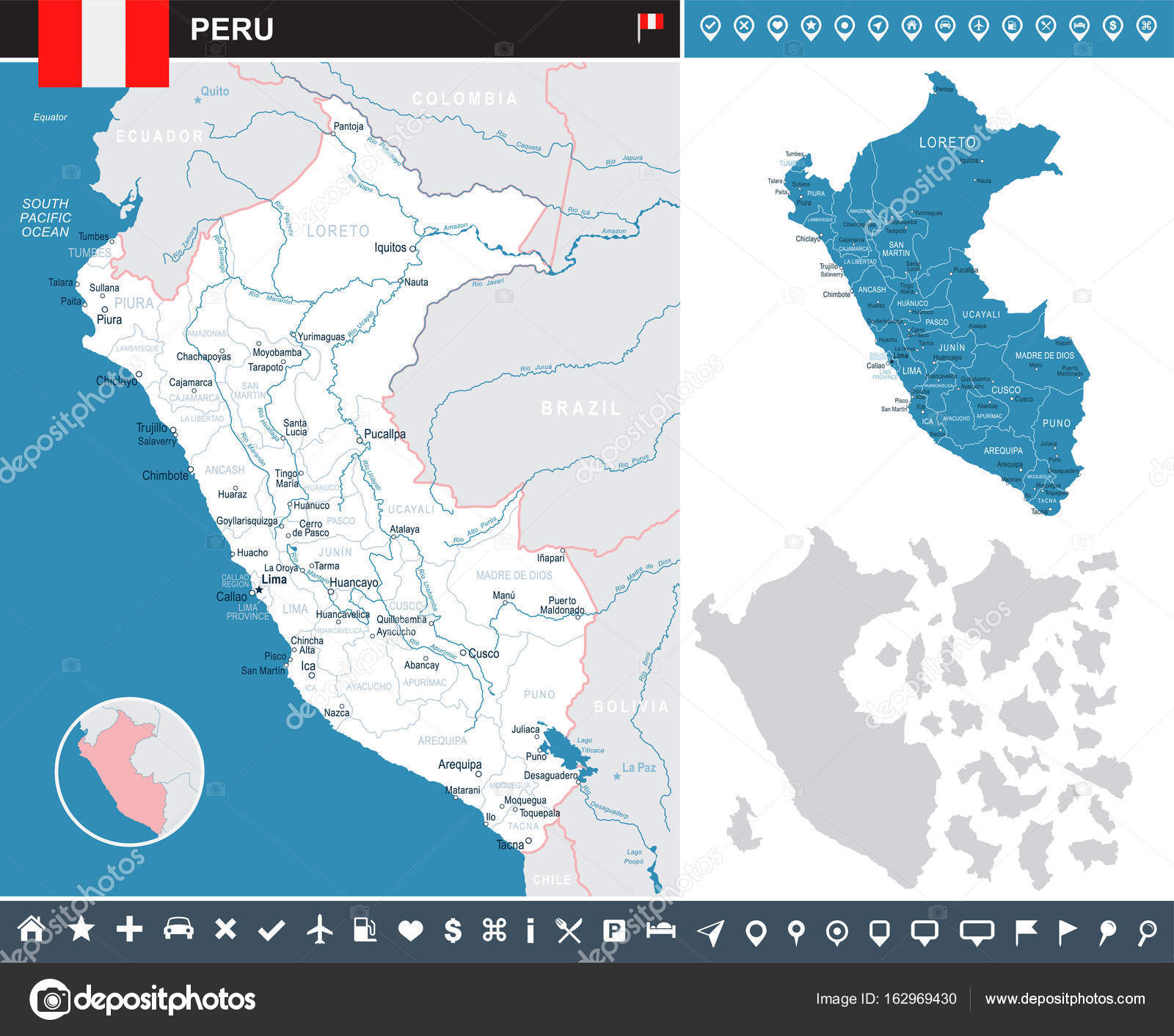 Peru infographic map and flag illustration Stock Vector