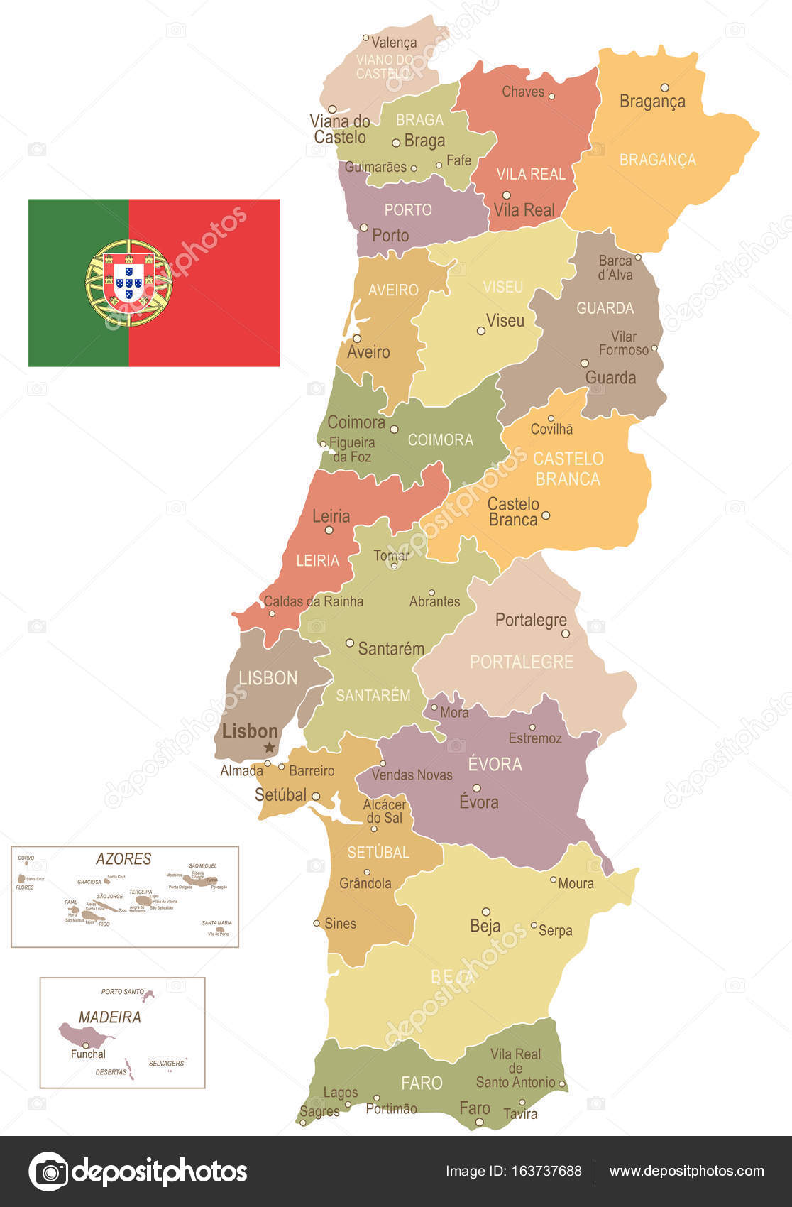 Portugal Vintage Map And Flag Illustration Stock Vector