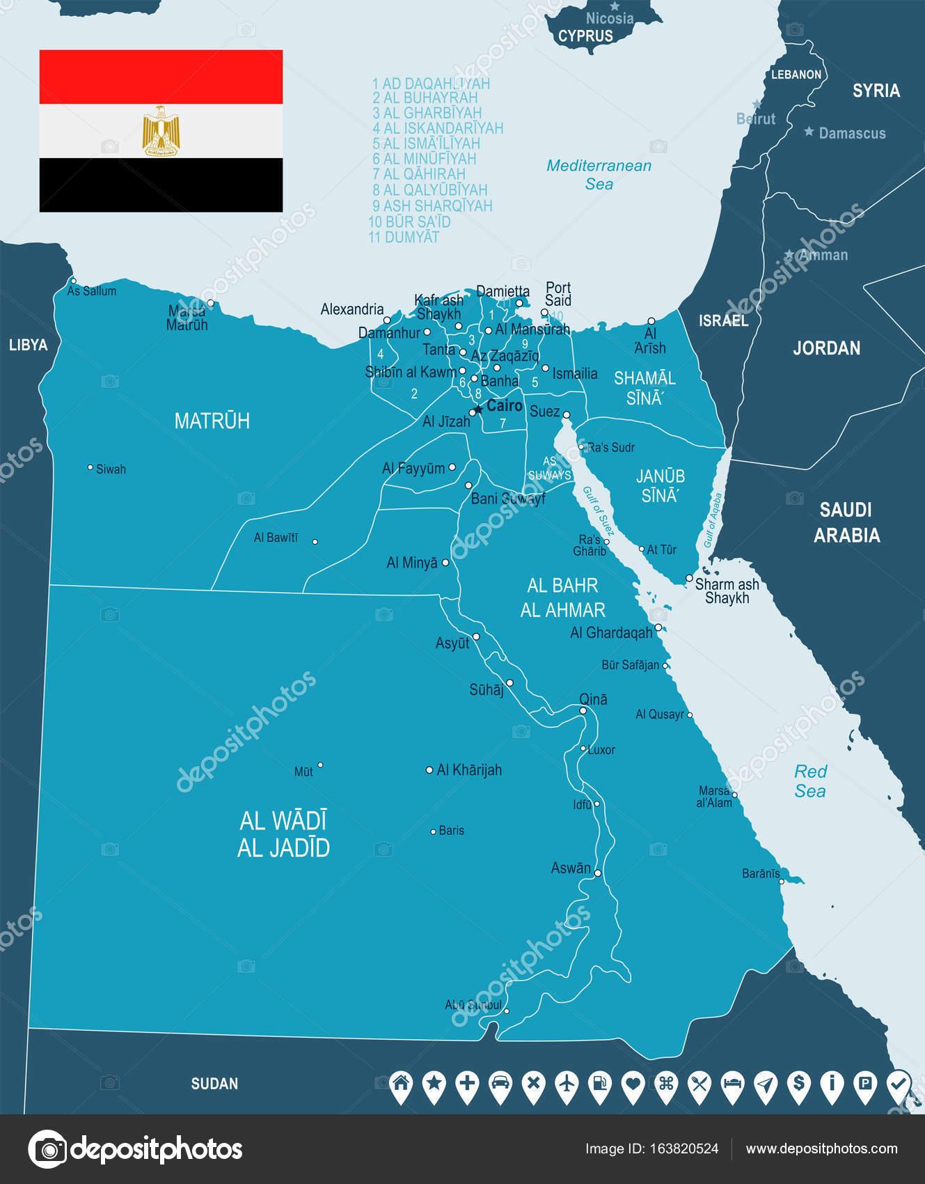 Egypt map and flag illustration Stock Vector dikobrazik 163820524