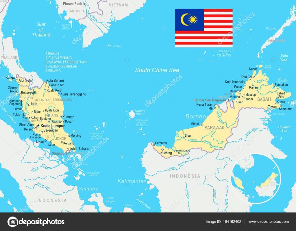 Malasia mapa y bandera de la ilustracin archivo imgenes mapa de malasia y bandera ilustracin vectorial vector de dikobrazik gumiabroncs Choice Image