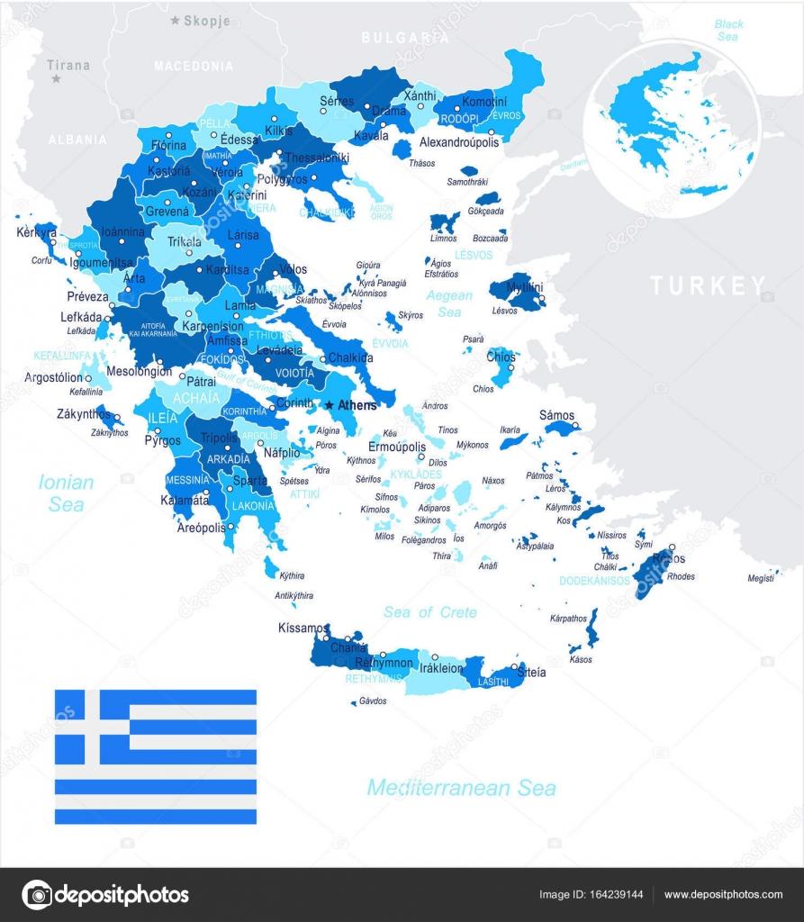 Yunanistan Harita Ve Illüstrasyon Bayrak Stok Vektör