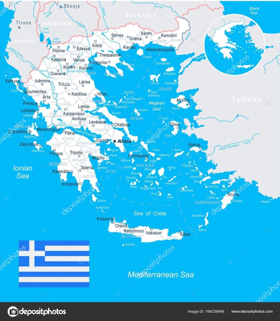 Greece map and flag illustration Stock Vector dikobrazik