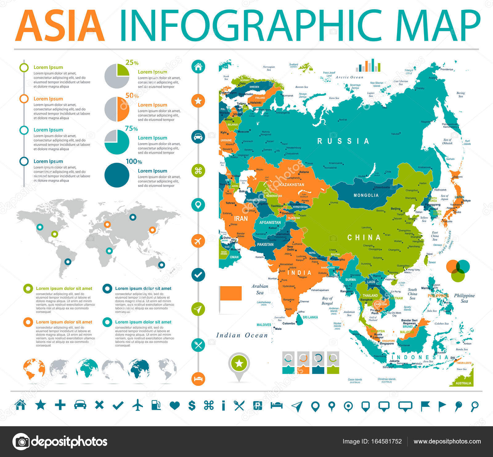 asia map detailed info graphic vector illustration vector by dikobrazik