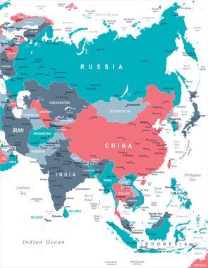 Asia Map - Vector Illustration