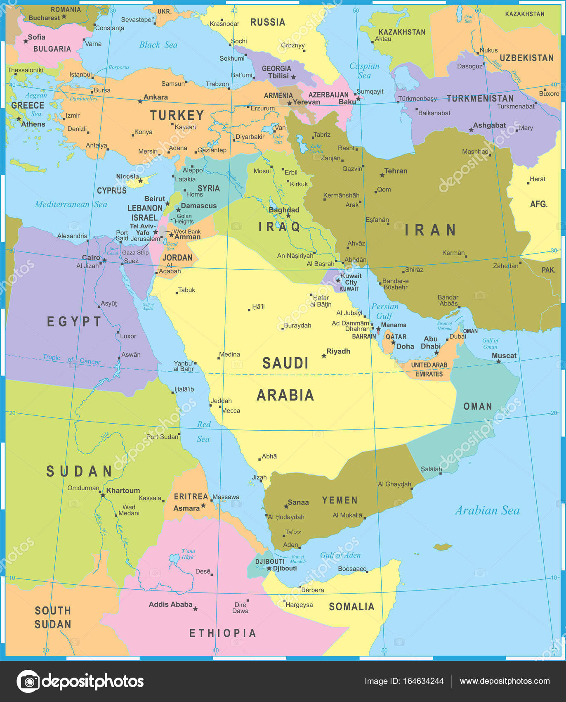 közel kelet térkép Közel Kelet Térkép   vektor illusztráció — Stock Vektor  közel kelet térkép