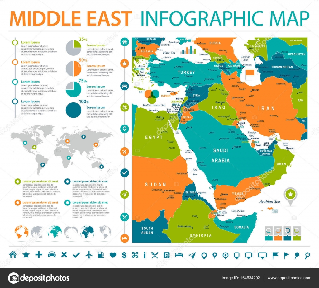 Middle east map info graphic vector illustration stock vector middle east map info graphic vector illustration stock vector gumiabroncs Images