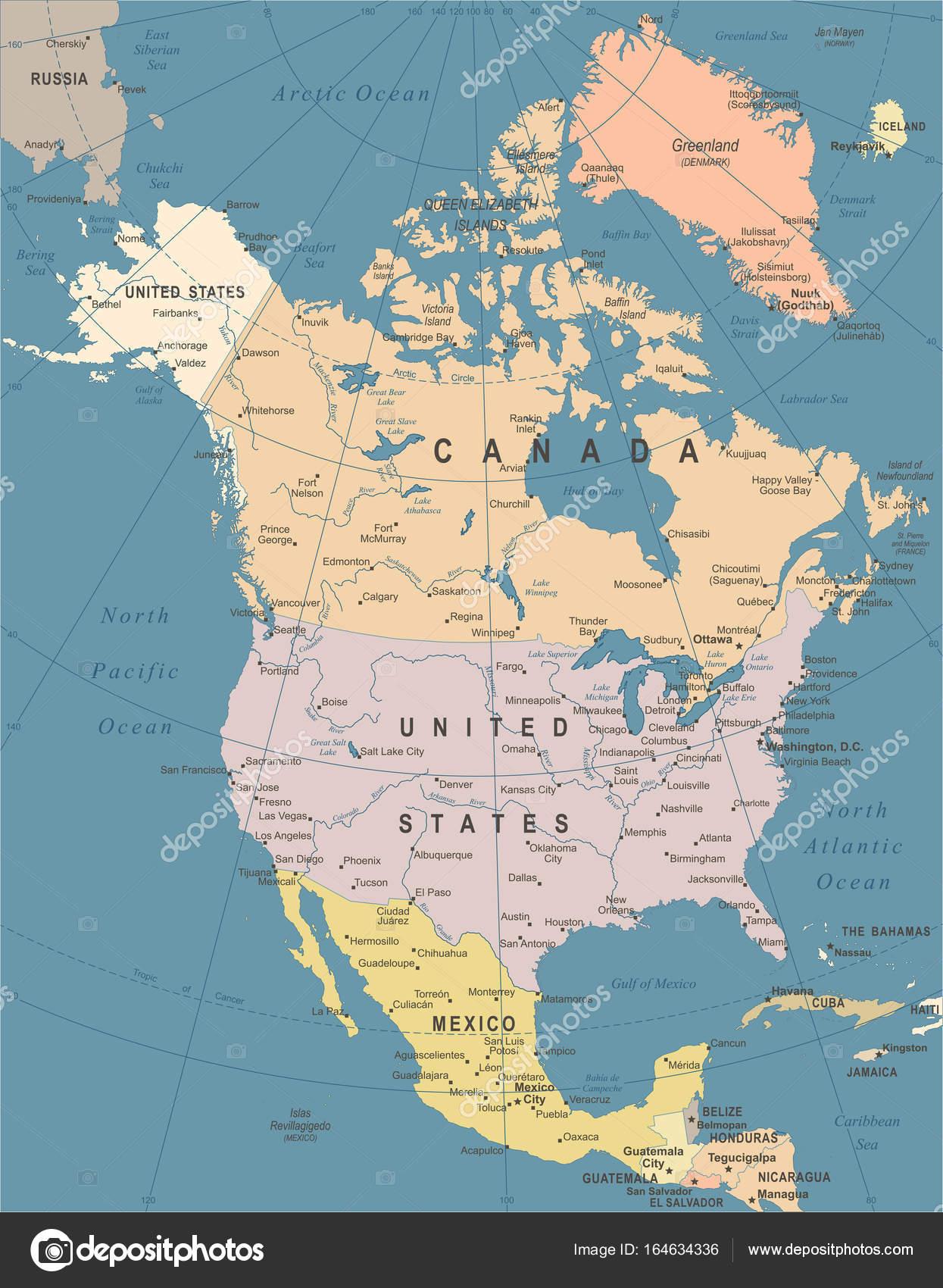 North America Map Vintage Vector Illustration Stock Vector