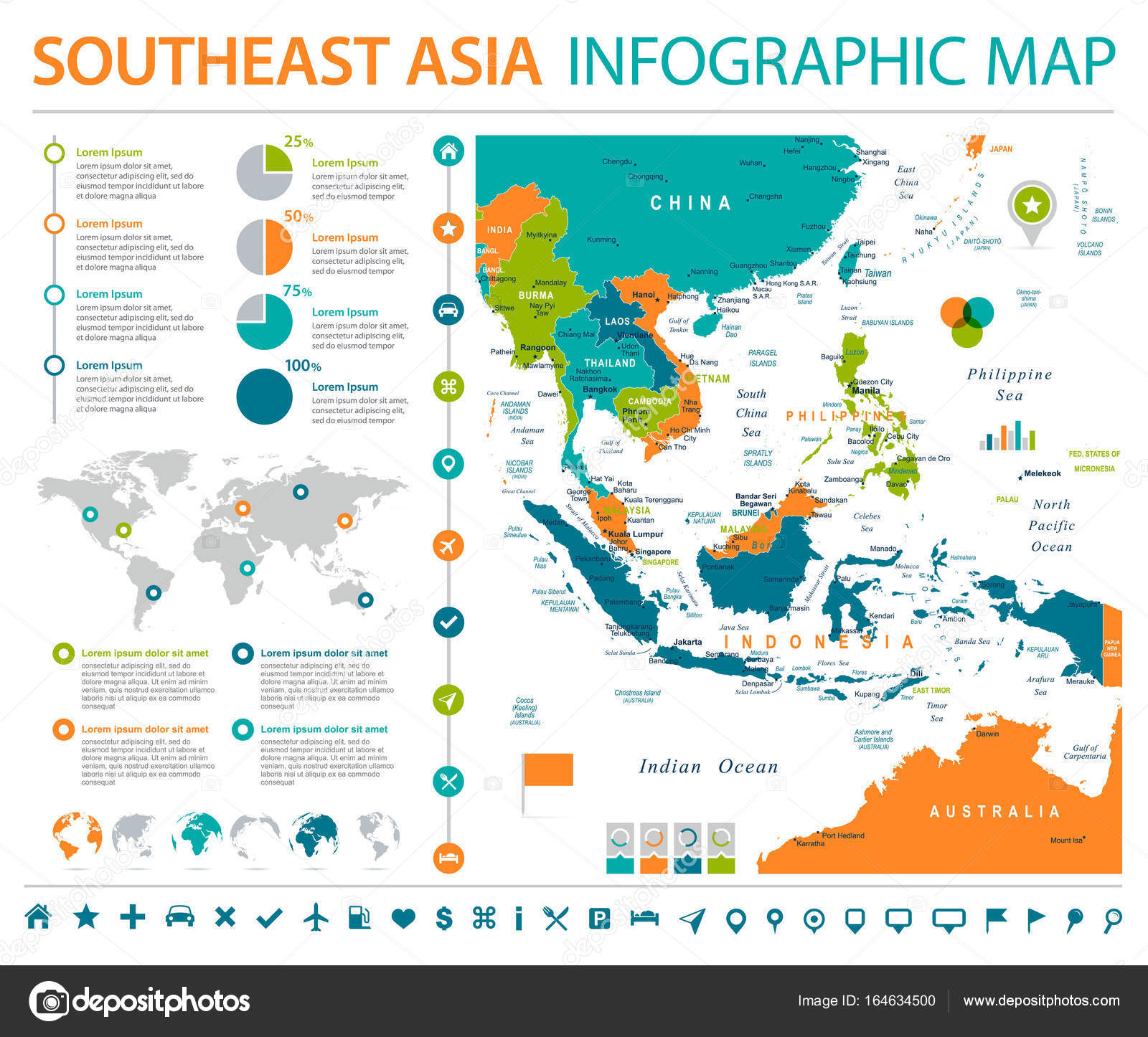 southeast asia map detailed info graphic vector illustration vector by dikobrazik