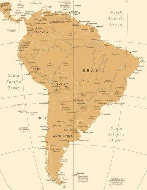 South America Map - Vintage Vector Illustration