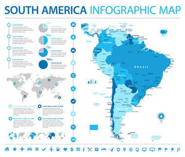 South America Map - Info Graphic Vector Illustration