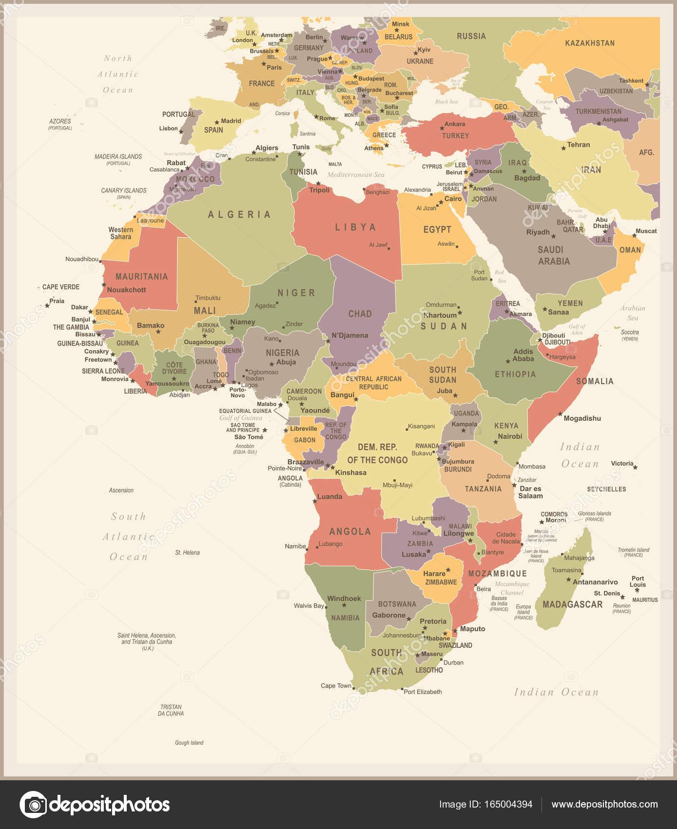 Africa Map Vintage Vector Illustration Stock Vector