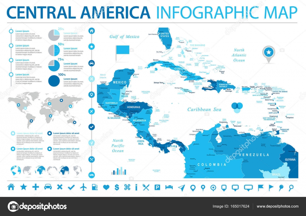 Central America Map - Info Graphic Vector Illustration — Stock ...