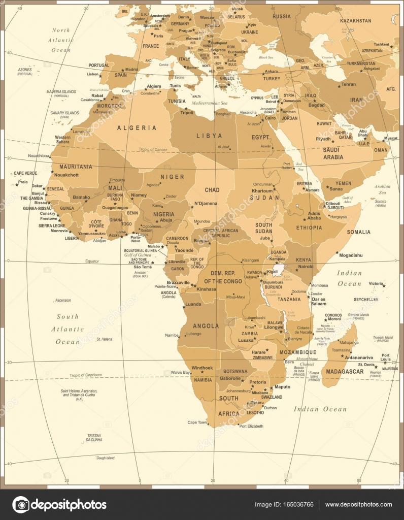 Karte Afrika.Afrika Karte Vintage Vektor Illustration Stockvektor