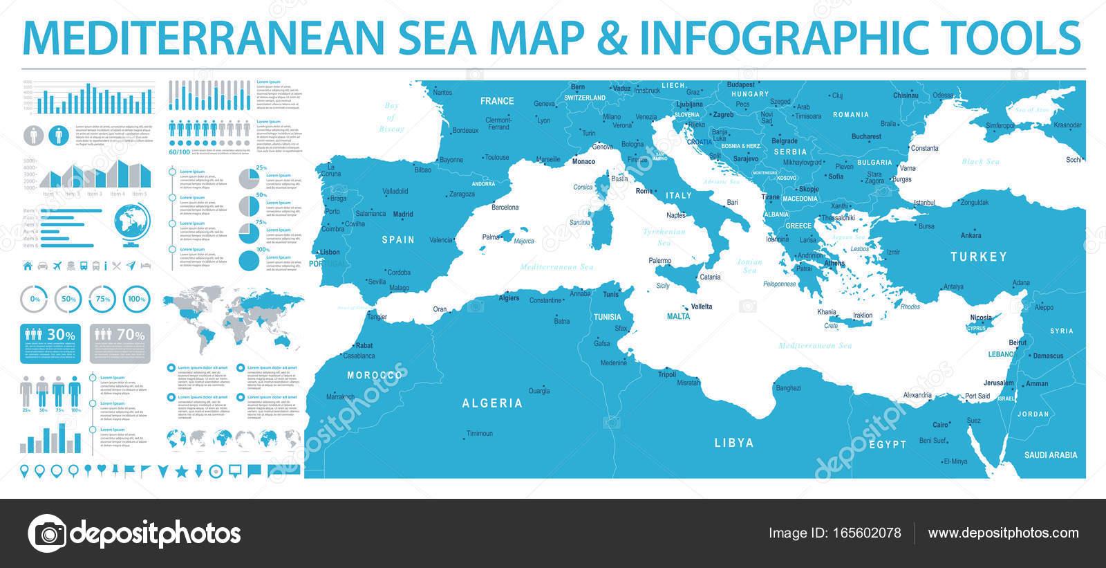 Mediterranean Sea Map Info Graphic Vector Illustration Stock