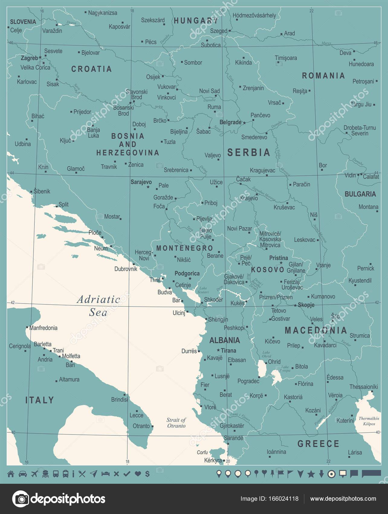 Central Balkan Map Vintage Vector Illustration Stock Vector