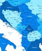 Central Balkan Map - Vector Illustration