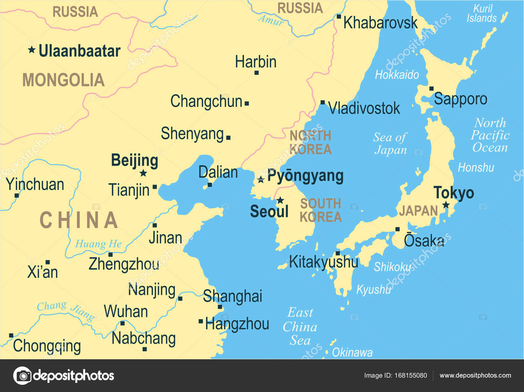 north korea south korea japan china russia mongolia map vector illustration stock vector