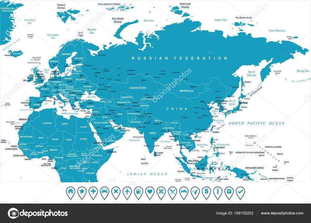 Karta Indien Thailand.Eurasien Europa Ryssland Kina Indien Indonesien Thailand Afrika