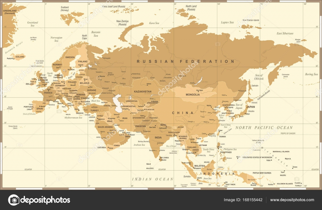 Karta Indien Thailand.Eurasien Europa Ryssland Kina Indien Indonesien Thailand Karta