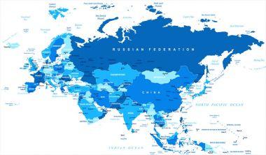 Eurasia Europa Russia China India Indonesia Map - Vector Illustration