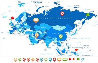Eurasia Europa Russia China India Indonesia Thailand Map - Vector Illustration