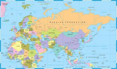 Eurasia Europa Russia China India Indonesia Thailand Africa Map - Vector Illustration