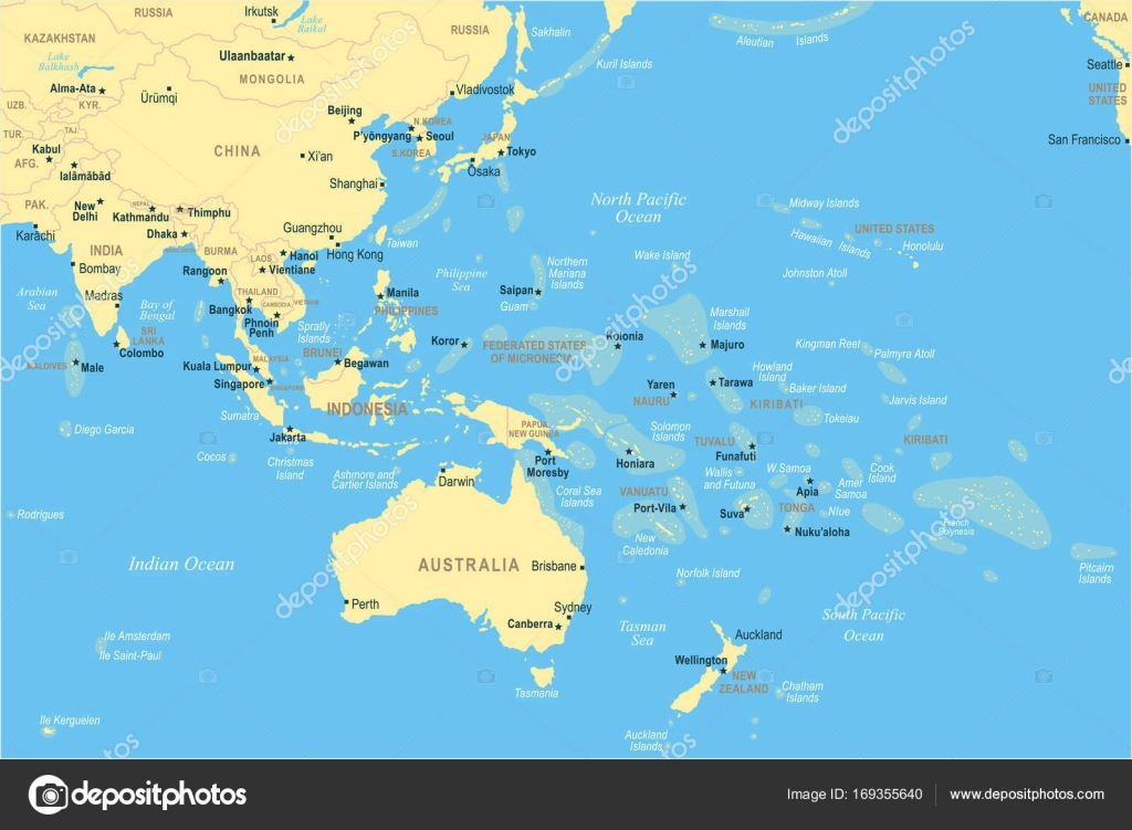 East asia and oceania map vector illustration stock vector east asia and oceania map vector illustration stock vector gumiabroncs Image collections