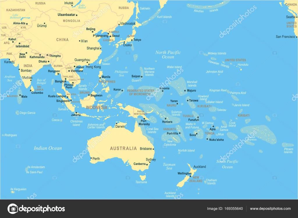 Carte Asie Oceanie.Asie Du Sud Est Et Oceanie Carte Illustration Vectorielle