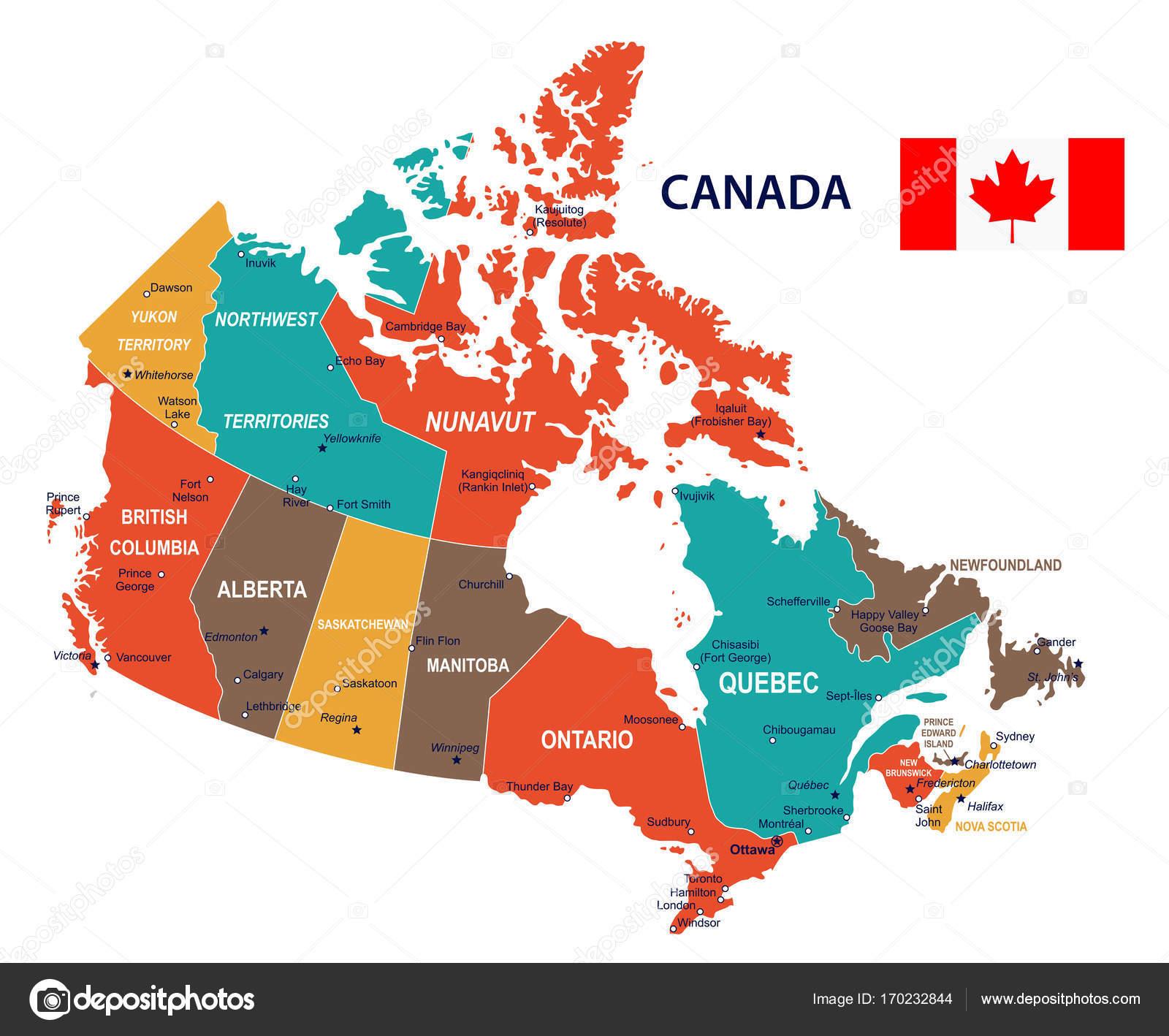 canada mapa Canadá   mapa y bandera de la ilustración — Archivo Imágenes  canada mapa
