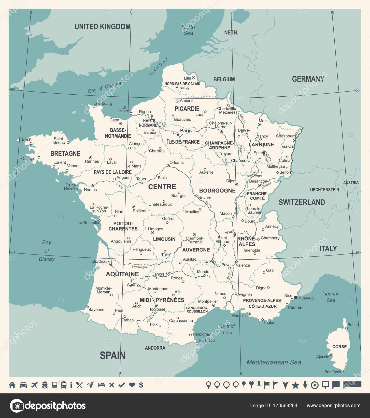 Cartina Francia Sud Dettagliata.Francia Mappa Illustrazione Di Vettore Dell Annata