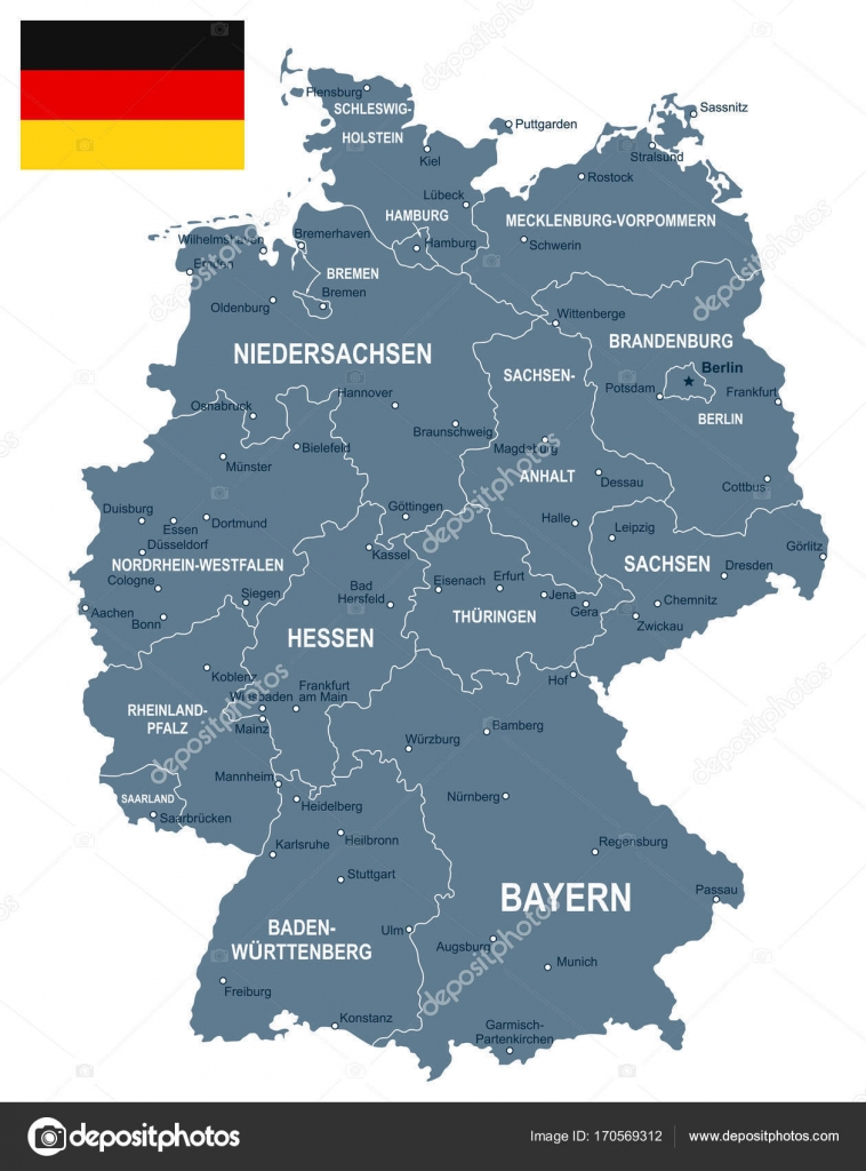 Germany Map And Flag Illustration Stock Vector C Dikobrazik