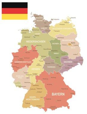 Germany - vintage map and flag - illustration