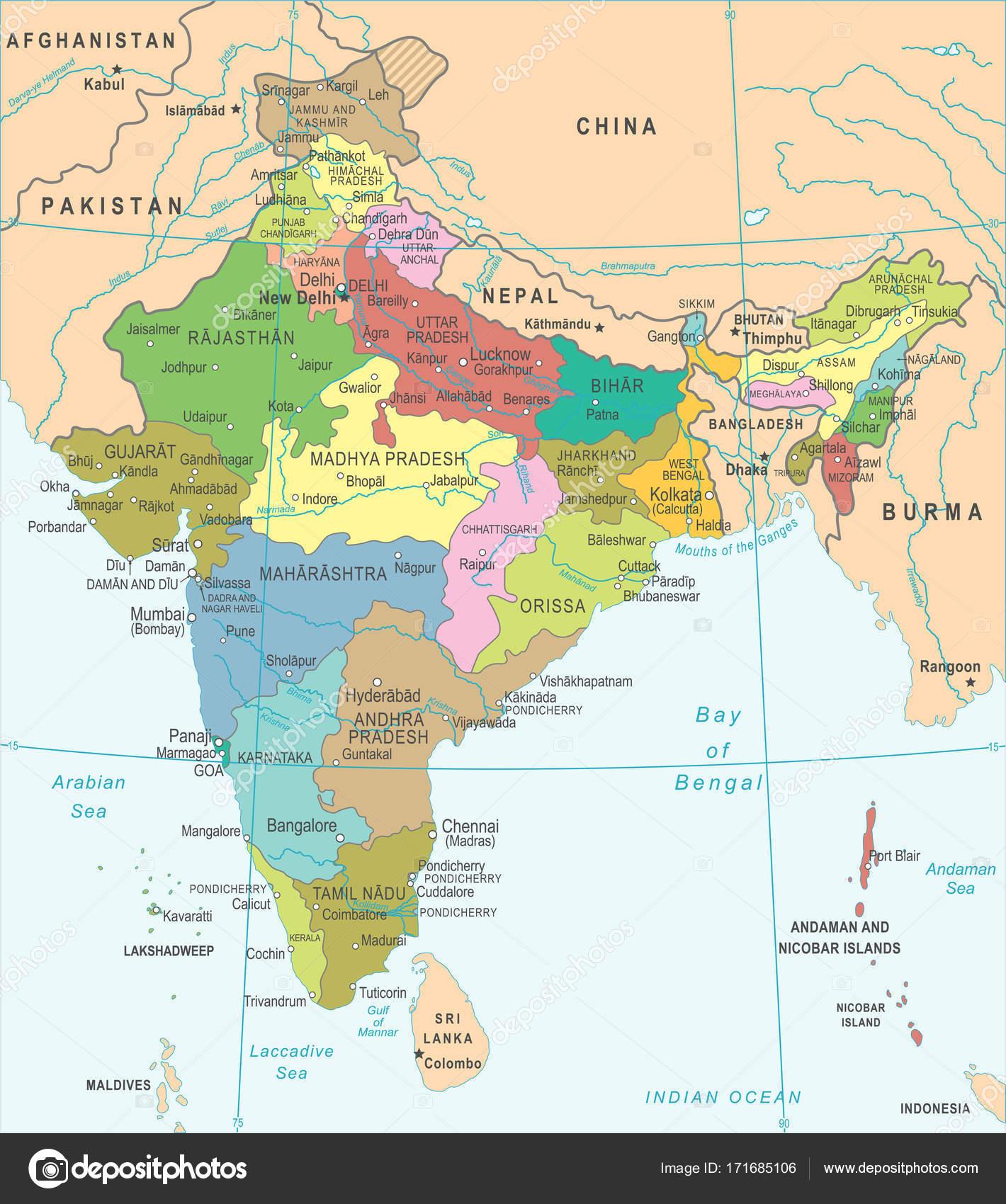 Indien Karta Vektorillustration Stock Vektor C Dikobrazik 171685106