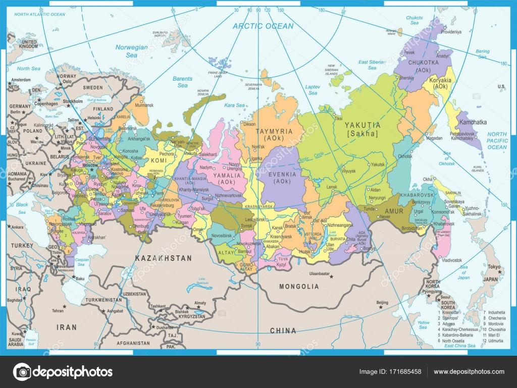 oroszország térkép Oroszország térképe   vektor illusztráció — Stock Vektor