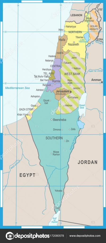 izrael térkép Izrael Térkép   vektor illusztráció — Stock Vektor © dikobrazik