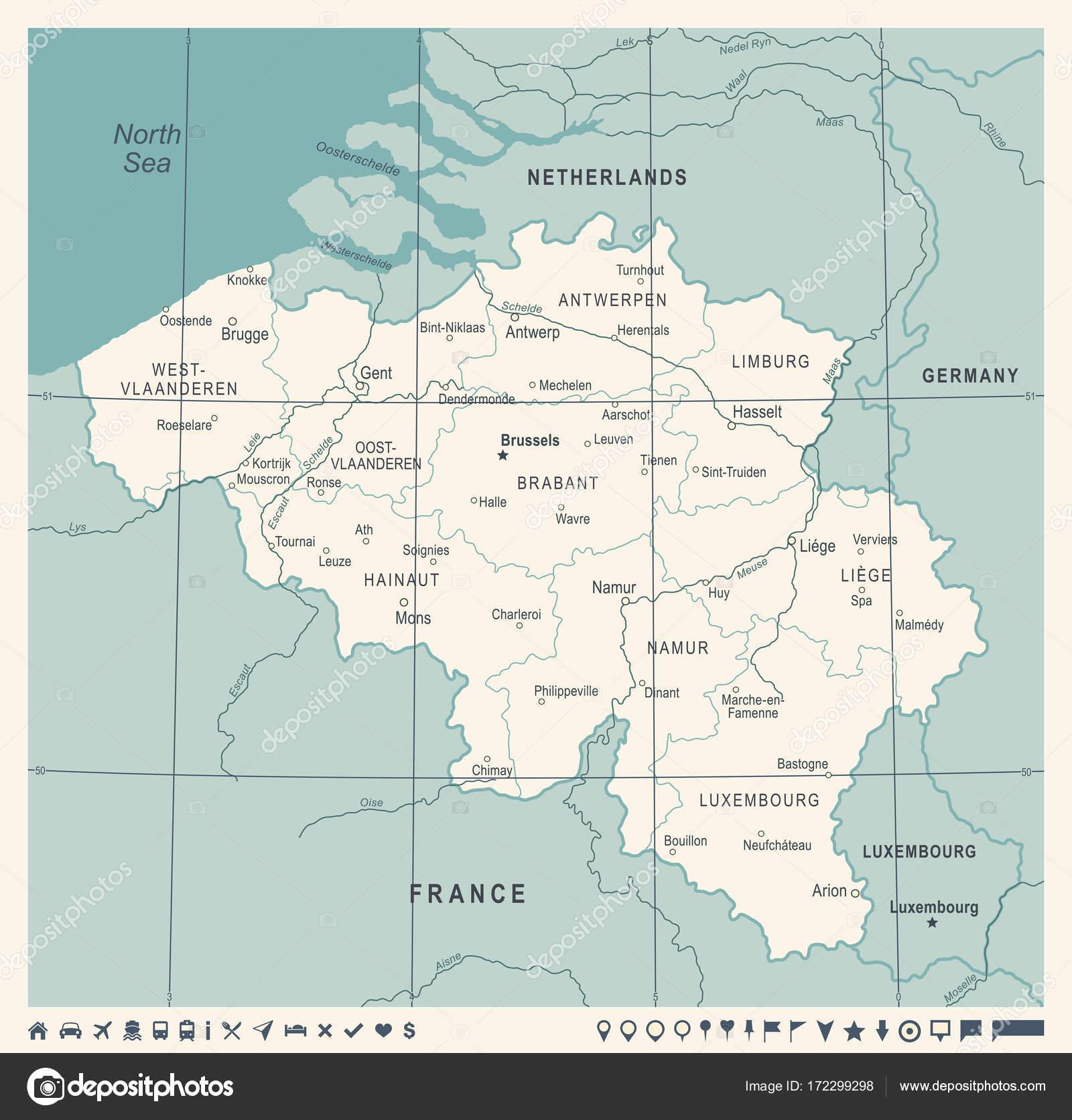 mapa blgica ilustracin de vector vintage vector de stock