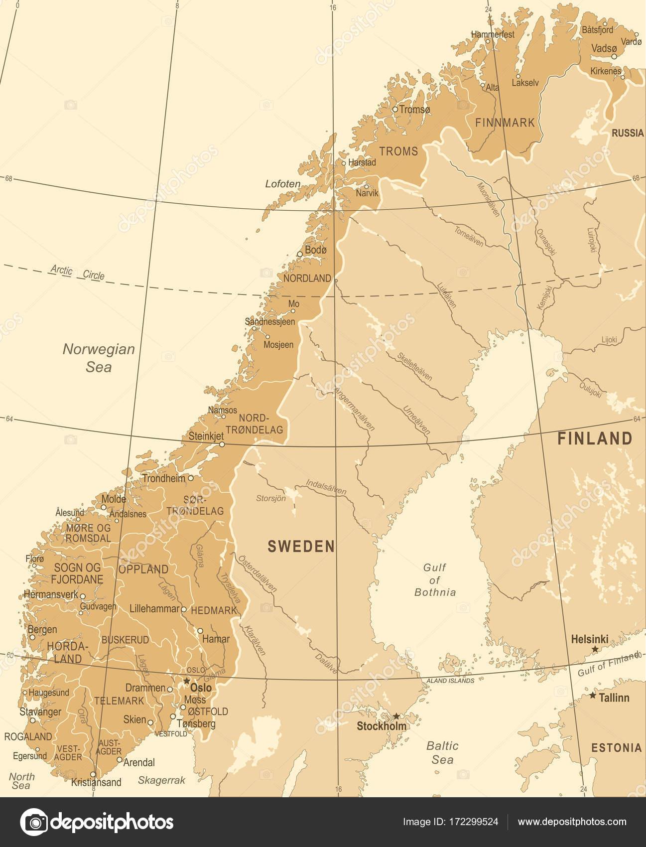 Karta Norge Stavanger.Norge Karta Vintage Vektorillustration Stock Vektor C Dikobrazik