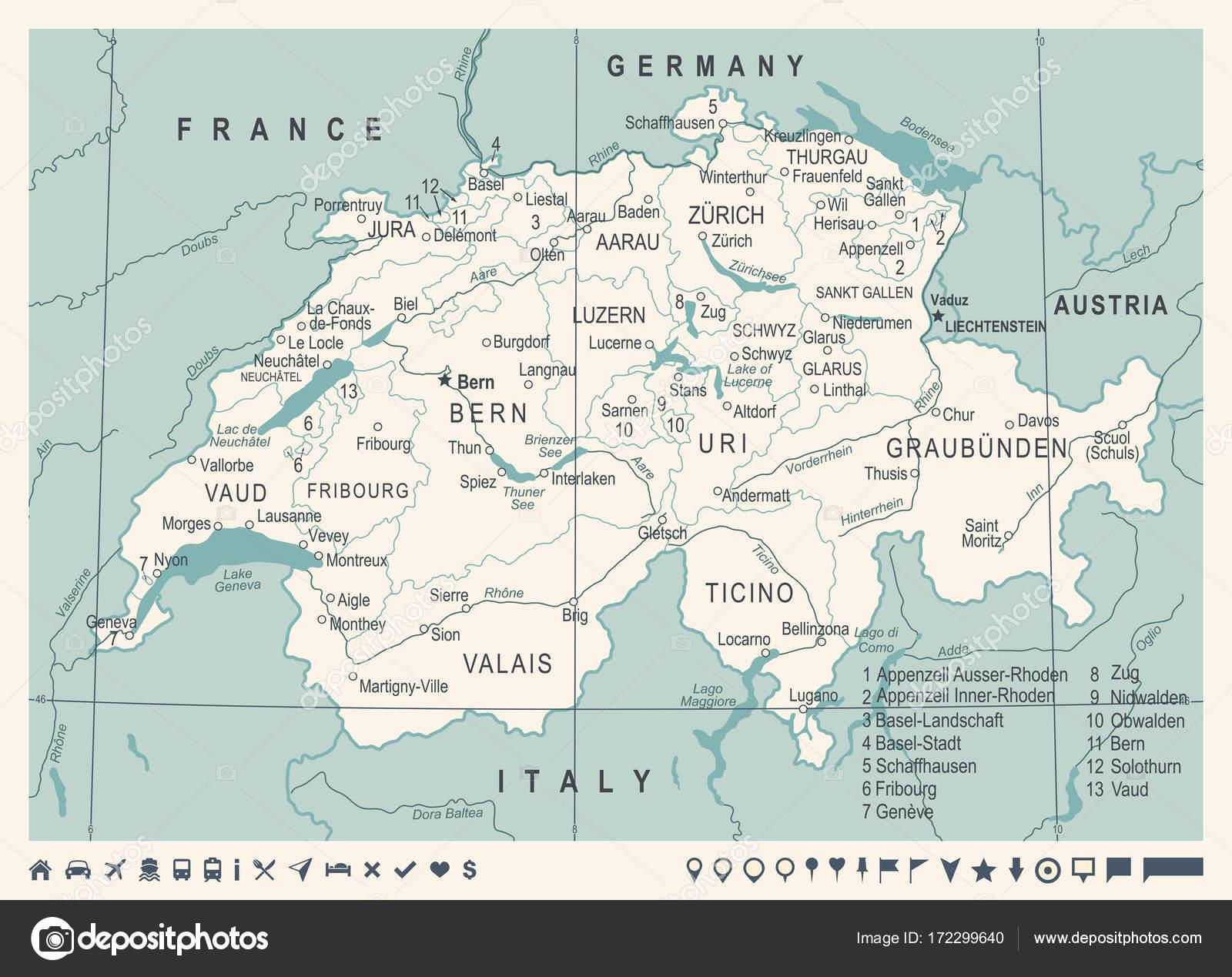 Schweiz Karte Vintage Vektor Illustration Stockvektor