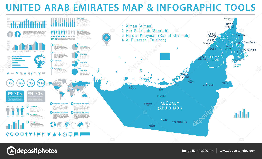 United Arab Emirates Map Info Graphic Vector Illustration Stock