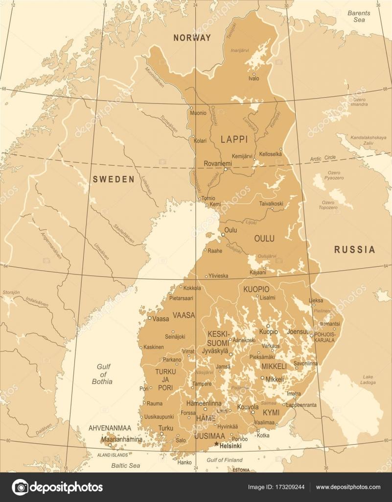 Finland Map Vintage Detailed Vector Illustration Stock Vector