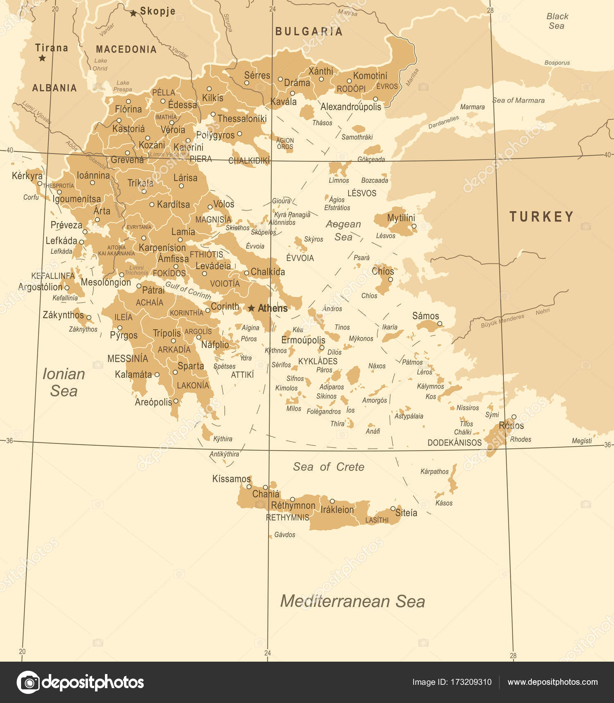 Greece Map Vintage Vector Illustration Stock Vector dikobrazik