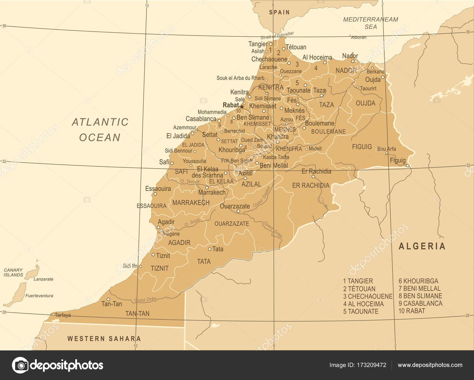Morocco Map Vintage Vector Illustration Stock Vector