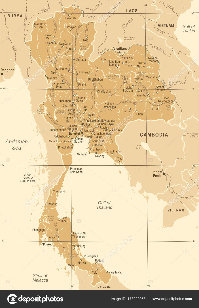 Mapa de tailandia ilustracin de vector vintage archivo imgenes mapa de tailandia ilustracin de vector vintage archivo imgenes vectoriales gumiabroncs Images