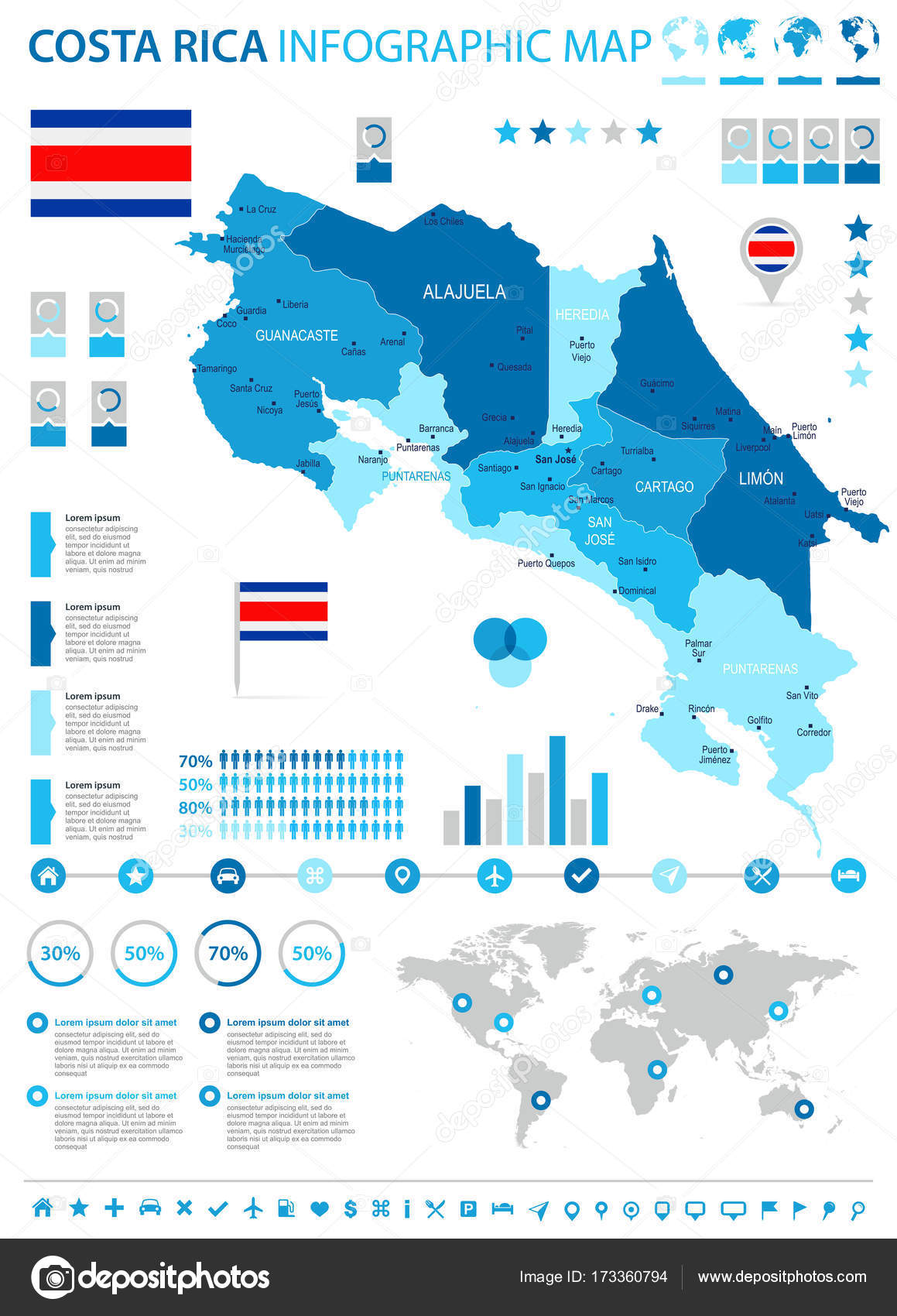costa rica infographic map and flag high detailed vector illustration vector by dikobrazik