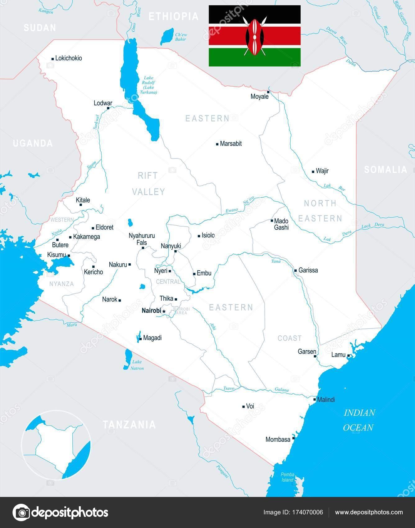 Kenia Karte.Kenia Karte Detaillierte Vektor Illustration Stockvektor