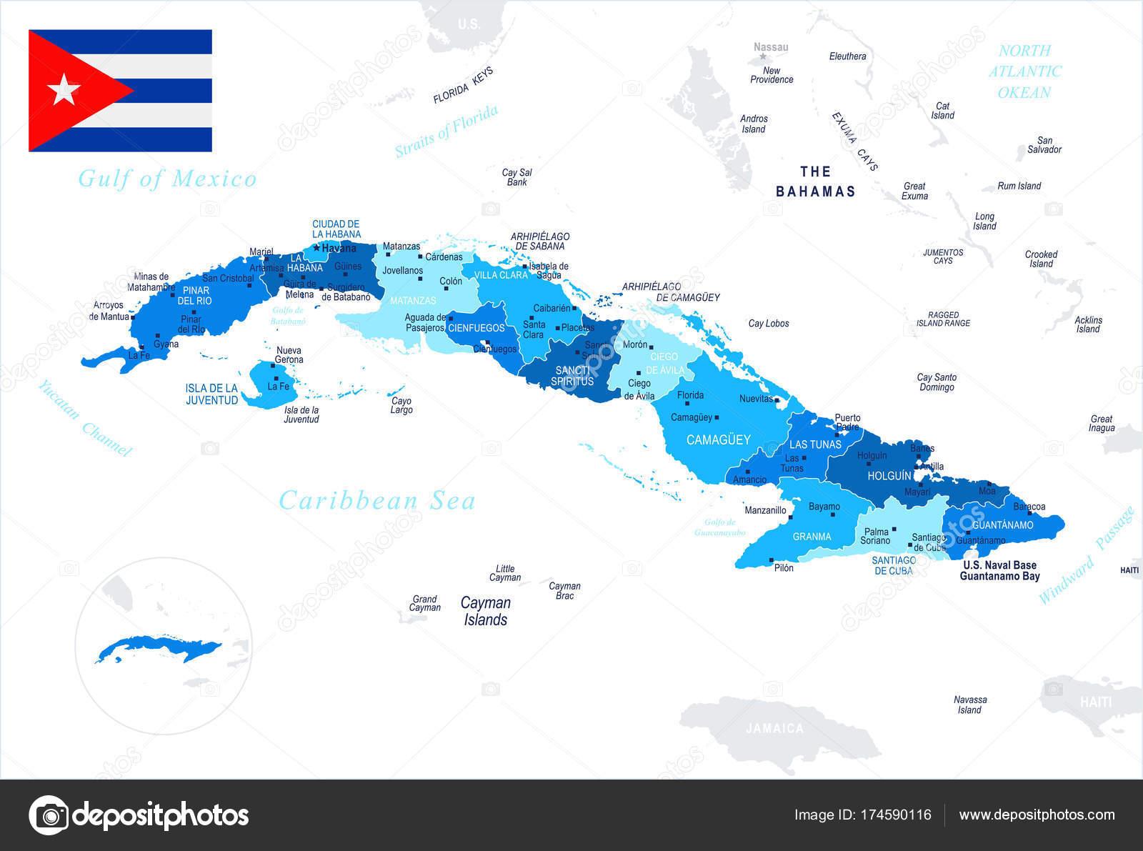 kuba térkép Kuba   Térkép és zászló   részletes vektoros illusztráció — Stock  kuba térkép